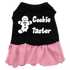 Cookie Taster Dog Dress - Black with Pink-XX Large  15% Discount - Use code DOGGIE at Checkout   http://www.gingersdoggieheaven.com #HolidayDogClothes 15% Discount - Use code DOGGIE at Checkout