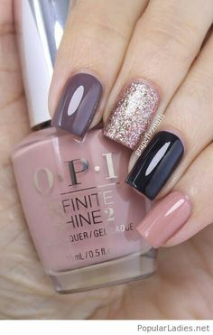 Grape Fizz Nails OPI Infinite Shine Nail art pointer finger You Don't Know Jacques! middle finger Bring on the Bling; ring finger Lincoln Park after Dark; Fancy Nails, Cute Nails, Pretty Nails, Fabulous Nails, Gorgeous Nails, Amazing Nails, Perfect Nails, Nail Polish, Gel Nail
