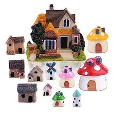 Top Collection Miniature Fairy Garden and Terrarium Red Mushroom Fairy House