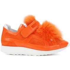 Pierre Hardy Fur-Trimmed Suede Sneakers ($955) ❤ liked on Polyvore featuring shoes, sneakers, suede trainers, pierre hardy, orange shoes, orange sneakers and suede sneakers