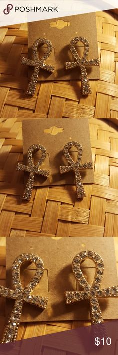Blinf rhinestone Ankh post earrings Bling Rhinestones Ankh post earrings.   Pist are surgical steel.  Light weight  11/2 inches in length light weight Jewelry Earrings