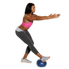 Grab an exercise ball and get a lower-body blast with the Heel-Dig Squat exercise. It's harder than it looks!