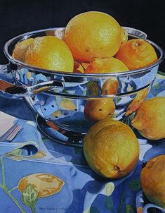 """Sunshine Lemons"" - Karin Isenburg, watercolor {fruit bowl still life art painting #loveart}"