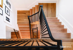 A staircase winds dramatically through four floors in The Millard Fillmore by Wieland Builders. Photo by Greg Grupenhof Millard Fillmore, New Homes, Stairs, Bright Ideas, Flooring, Inspiration, Home Decor, Biblical Inspiration, Stairway