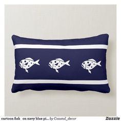 Shop cartoon fish on navy blue pillow created by Coastal_decor.