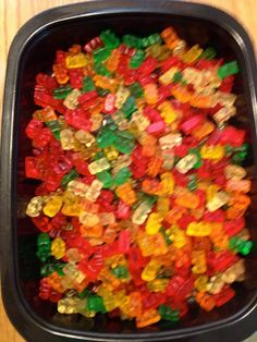 Place your gummy bears in a large container. I recommend using the cheapest bears you can find as the higher quality ones break down more.