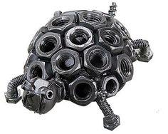 Hand Crafted Metal Reciclado Estatueta Escultura Arte Tartaruga