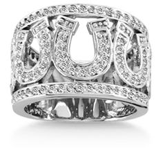 Multi Horseshoe Ring    Sterling silver and sparkling cubic zirconia dazzle in the eye catching Multi Horseshoe ring. The open setting and patterned design make a bold statement, yet it.s light and beautiful on the hand. Beautifully handcrafted design set with colorless cubic zirconia · Perfect for special occasion or casual wear. Available sizes 5 - 9.