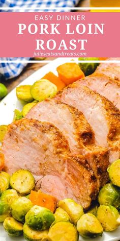 Roasting a Pork Loin Roast in your oven with your favorite vegetables and seasonings is an easy, yet impressive dinner. You can make it for a weeknight meal or serve it to guests. You can't beat that tender, juicy pork loin and roasted vegetables! Easy Holiday Recipes, Thanksgiving Recipes, Easy Dinner Recipes, Dinner Ideas, Delicious Recipes, Tasty, Yummy Food, Healthy Recipes, Pork Ham
