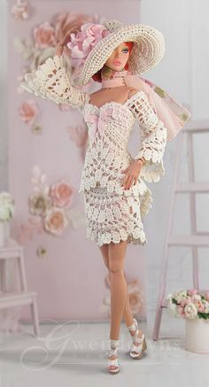 Crochet Doll Dress, Crochet Barbie Clothes, Beautiful Barbie Dolls, Vintage Barbie Dolls, Barbie Wedding, Doll Dress Patterns, Clothes Crafts, Barbie Dress, Crochet Fashion
