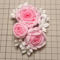 Kanzashi Flowers, Handmade Flowers, Flower Crafts, Fabric Flowers, Flower Designs, Hair Bows, 2way, Ribbon, Brooch