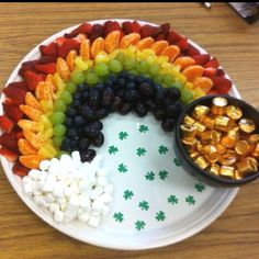 Rainbow Fruit Platter. Great for Girl Scout Bridging Ceremony.