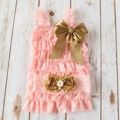Pink and Gold Romper and Headband Set