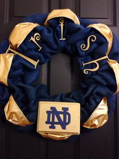 Notre dame College Football Burlap Wreath Fighting Irish by RobertsWreaths