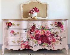 Furniture rub on transfers by ReDesign with Prima are really easy to use and exceptionally detailed and gorgeous. They are simply a decal for furniture. Floral Furniture, Paint Furniture, Shabby Chic Furniture, Furniture Projects, Furniture Makeover, Barbie Furniture, Garden Furniture, Furniture Design, How To Decoupage Furniture