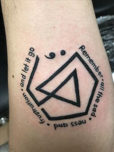 """""""Remember all the sadness and frustration, and let it go""""  Linkin Park Tattoo with a semicolon for Chester.   #RIPChester #linkinlove #LPoneFamily #linkinpark #wearetogether #lpfamily #neverforgotten #nevergiveup #projectsemicolon #suicideprevention #mentalhealthawareness #firsttattoo"""
