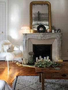 Living room decor, mirror over fireplace, home fireplace, fireplaces, cosy Paris Living Rooms, Living Room Paint, Living Room Colors, Home Living Room, Living Room Decor, Home Fireplace, Fireplace Modern, Fireplace Stone, Fireplace Ideas
