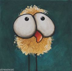 Original-acrylic-canvas-painting-whimsical-bird-folk-art-bad-hair-day-chicken Now for sale on ebay!