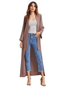 1a21f66a7b0 23 Trendy Statement Jackets You ll Want To Wear This Fall. MakeMeChic  Women s Casual Long Sleeve Loose Longline Duster Coat ...