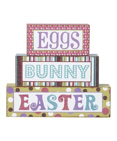 Look at this #zulilyfind! 'Eggs,' 'Bunny' & 'Easter' Block Sign Set by Transpac Imports #zulilyfinds