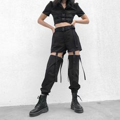 Waist: High Closure: Button Fly Fit: Regular Material: Polyester   Size Measurements:  Waist: S=64cm M=68cm L=72cm Hips: S=96cm M=100cm L=104cm Cool Style Outfits, Edgy Outfits, Korean Outfits, Grunge Outfits, Dance Outfits, Cute Outfits, Buckle Outfits, Cargo Pants Outfit, Baggy Pants