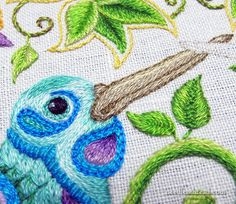 Hand Embroidered Hummingbird