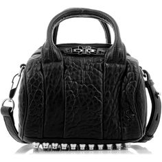 Alexander Wang Mini Rockie Black And Silver Bag ($580) ❤ liked on Polyvore featuring bags, handbags, real leather purses, alexander wang handbags, zipper handbag, mini purse and leather handbags