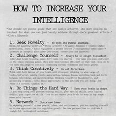 How to get smarter tips and improve your intelligence with Albert Einstein quote.