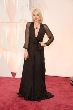 The 2015 Academy Awards: Live From the Red Carpet / Margot Robbie, in Saint Laurent, with Van Cleef & Arpels jewels