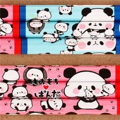 Mochi panda crayon with leads in red blue from Japan