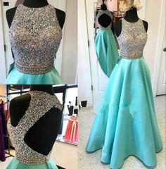 Sexy Prom Dresses,Cheap Custom Prom Dress,Long Prom Dress,Beading Prom Dress,High Neck Prom Dress,PD0015