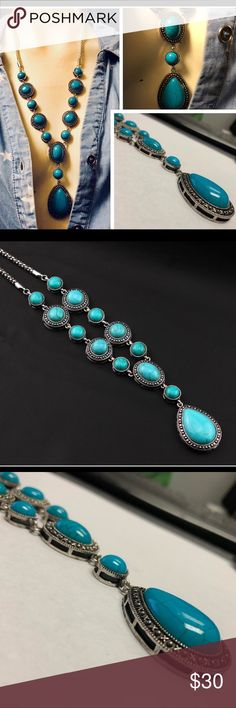 Antique Finish Silver & Turquoise necklace Bohemian style long necklace. Silver tone alloy with an antique finish and faux turquoise stones. My guess, would be dyed ceramic or hard resin. NWT Jewelry Necklaces