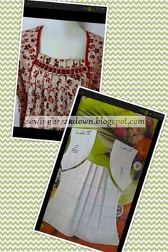 Exactly like my blue dress. Baby Dress Patterns, Skirt Patterns Sewing, Sewing Patterns Free, Clothing Patterns, Sewing Collars, Underwear Pattern, Cute Sewing Projects, Night Dress For Women, Sewing Lessons