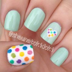 NOTD | duck egg blue and multi coloured polka dots