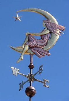 this is nicer from the reverse side - Moon Goddess Sitting Weathervane - Optional Gold Leaf Weather Vain, Lightning Rod, Wind Direction, Moon Goddess, Shop Signs, Garden Art, Garden Shop, Stars And Moon, Windmill