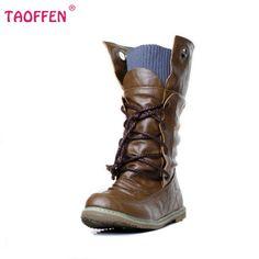 Mujeres botas planas media corta de invierno botas calzado correa cruzada de la moda bohemia del dedo del pie redondo zapatos de la bota caliente P19357 tamaño 34-43