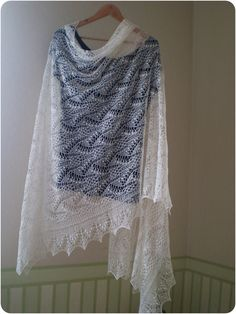 Hand knitted natural white wedding shawl by KnitANDlace on Etsy,