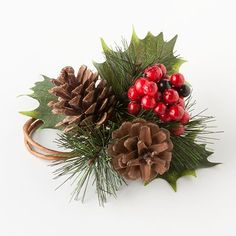 This is a $3 napkin ring which might be cheaper than DIY at the end of the day, cute pinecones and holly berries