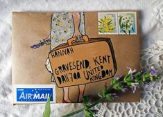 how sweet is this travel mail art? Love the address in the suitcase - so creative!