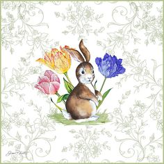 """Jean Plout - Bunnies in the Tulips"""" b"""