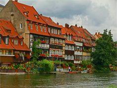 Klein-Venedig River flower box display in Bamberg Germany