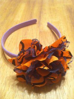 Halloween Headband: Purple with Large Orange and Black Flower - Ruff Creek Crafts