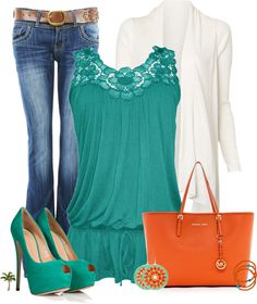 """Orange and Teal"" by cindycook10 ❤ liked on Polyvore"