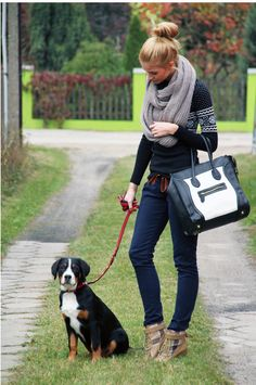 glamorous dog walking!  This is cute, but would not work w/ wild zues lol...I'd fall in the shoes and break something ;p Cute outfit though.