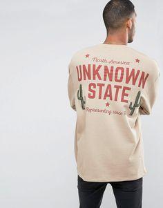 Image 1 ofASOS Oversized Longline Sweatshirt With Back Print