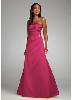 Davids Bridal Bridesmaid Dresses Satin Strapless Gown with Side Drape and Brooch Style F44079, Watermelon, 20