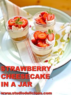 This Strawberry Cheesecake in a Jar is a fun and easy dessert, that's no-bake and and easy to put together too. Use the prettiest berries you can find, which isn't difficult this wonderful time of year. Strawberry Slice, Strawberry Desserts, Strawberry Cheesecake, Graham Cracker Crumbs, Graham Crackers, Cheesecake In A Jar, Meals In A Jar, Food Shows, The Fresh