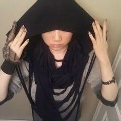 Aliennnation : 10. 1 black magic DIY series goth ninja part 1: hooded infinity fringe scarf #goth #gothic #diy