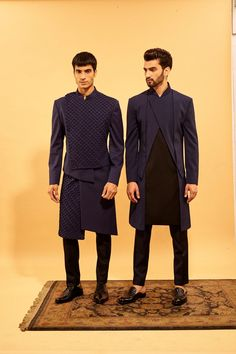 Polish your suavness for the festivities ahead in finely tailored sherwanis by Amaare. Whatsapp us now for personal shopping experience! Mens Indian Wear, Mens Ethnic Wear, Indian Groom Wear, Wedding Kurta For Men, Wedding Dresses Men Indian, Wedding Dress Men, India Fashion Men, Big Men Fashion, Indian Men Fashion
