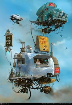 Fantasy Illustrations in the Scrap Metal Universe. See more art and information about Alejandro Burdisio, Press the Image.